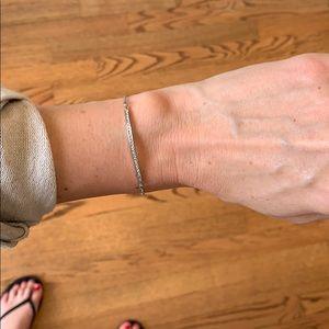 Pave curved bar bracelet. Silver
